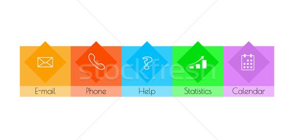 квадратный кнопки цвета бизнеса компьютер сердце Сток-фото © muuraa