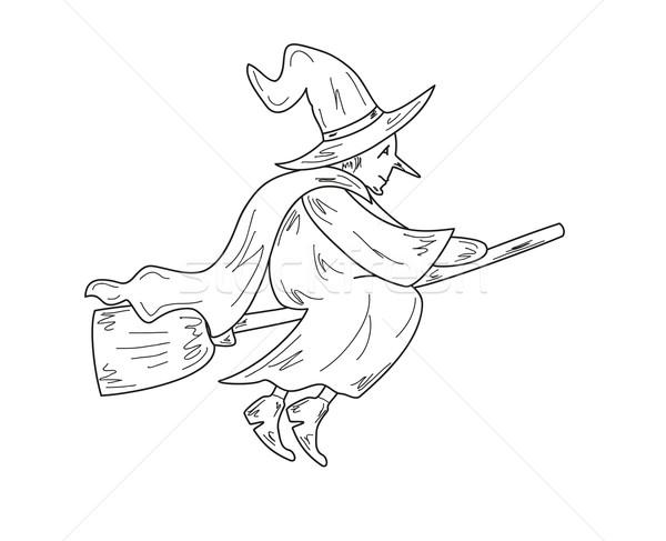 Eski cadı kroki çirkin süpürge vektör Stok fotoğraf © muuraa