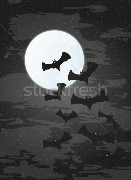 Gece ay karanlık gökyüzü vektör arka plan Stok fotoğraf © muuraa