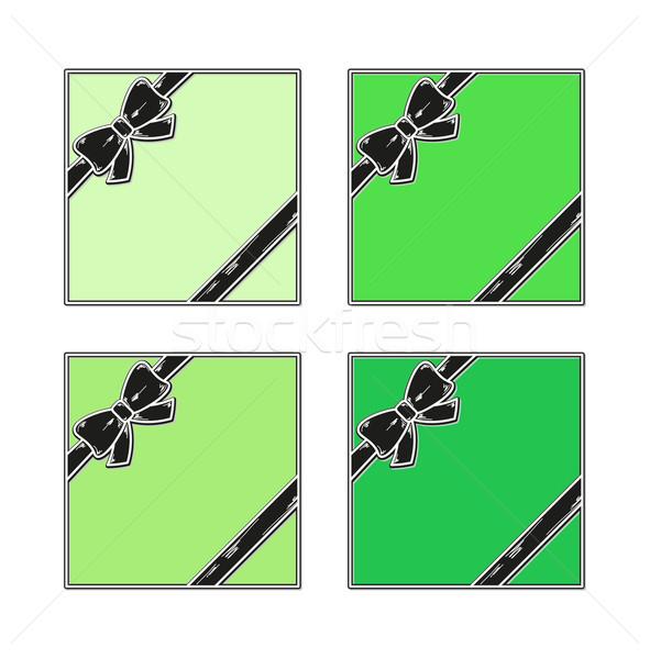 Hediye yeşil şerit beyaz iş Stok fotoğraf © muuraa
