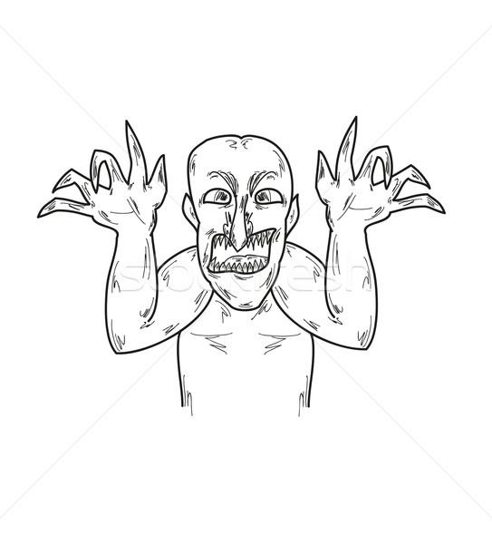 Vecchio brutto uomo sketch nero orribile Foto d'archivio © muuraa