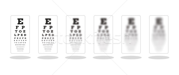sharp and five unsharp snellen chart Stock photo © muuraa
