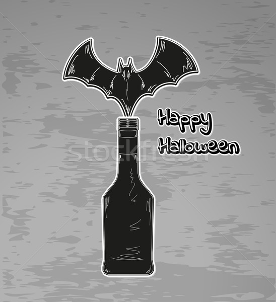 Mutlu halloween siyah şişe bat vektör Stok fotoğraf © muuraa