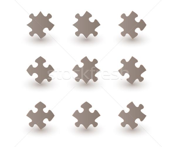 Kahverengi puzzle parçaları gölge beyaz arka plan mavi Stok fotoğraf © muuraa