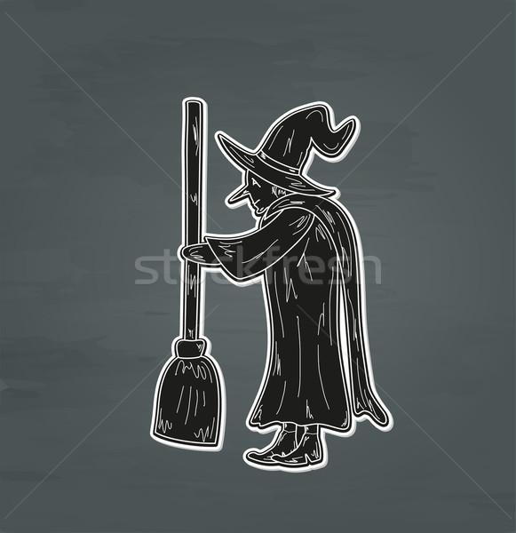 старые ведьмой эскиз уродливые метлой вектора Сток-фото © muuraa