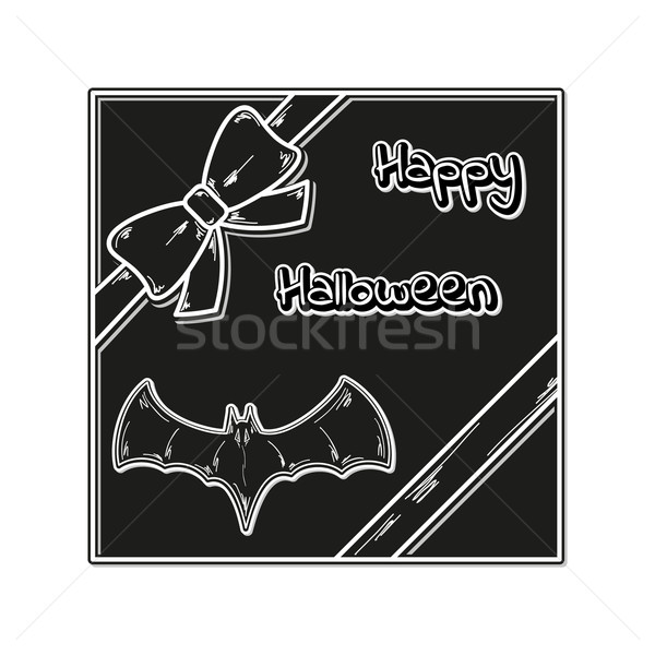 Felice halloween carta regalo nastro bat vettore Foto d'archivio © muuraa