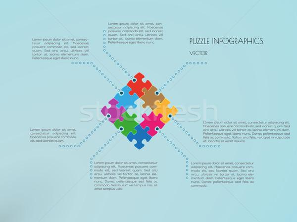 Bilmece vektör puzzle parçaları mavi iş Stok fotoğraf © muuraa