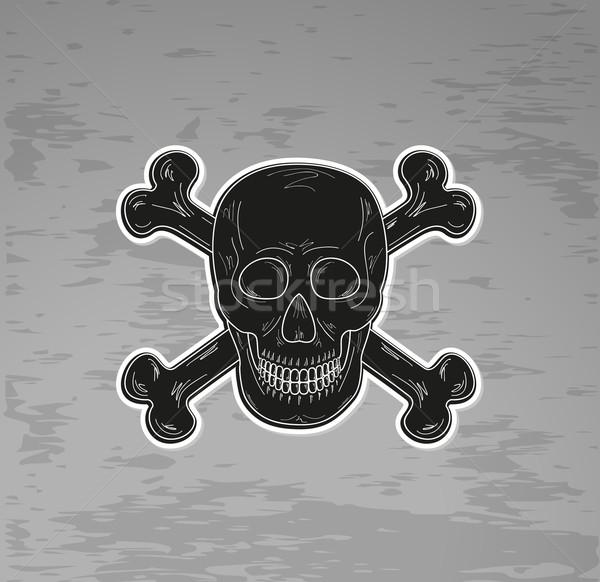 Preto crânio ossos escuro vetor sorrir Foto stock © muuraa