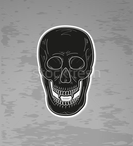 Crânio vampiro dentes preto escuro vetor Foto stock © muuraa