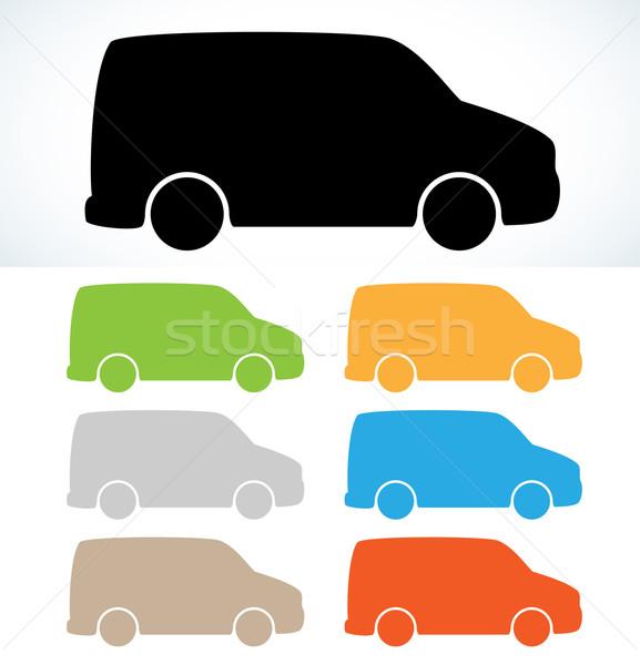 Araba siluet siluetleri yedi renkler vektör Stok fotoğraf © muuraa