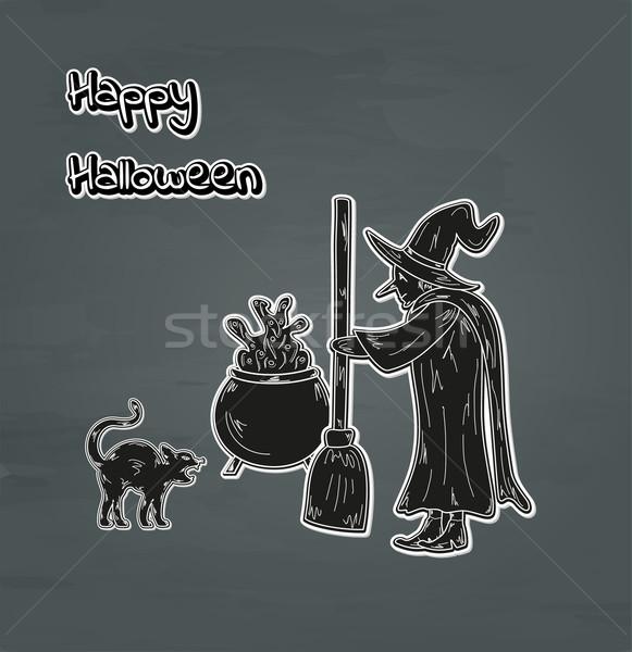 Eski cadı kedi kazan mutlu halloween Stok fotoğraf © muuraa