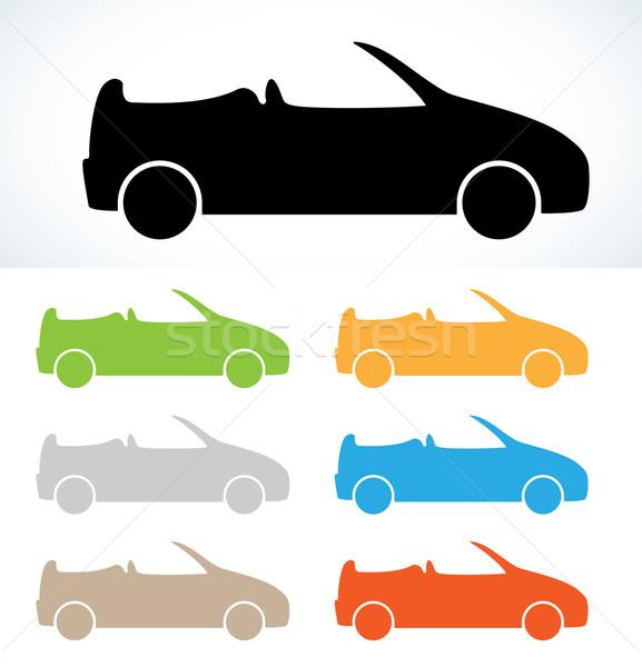 Cabriolet silhouette sagome sette colori vettore Foto d'archivio © muuraa