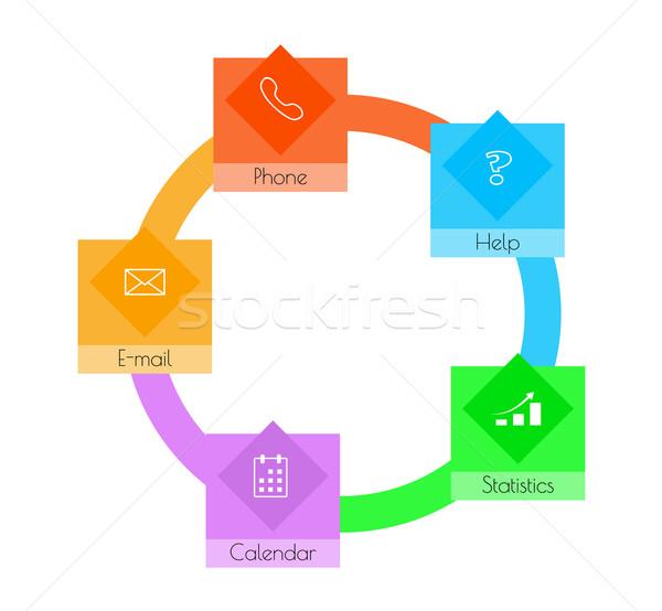 квадратный кнопки круга цвета бизнеса компьютер Сток-фото © muuraa