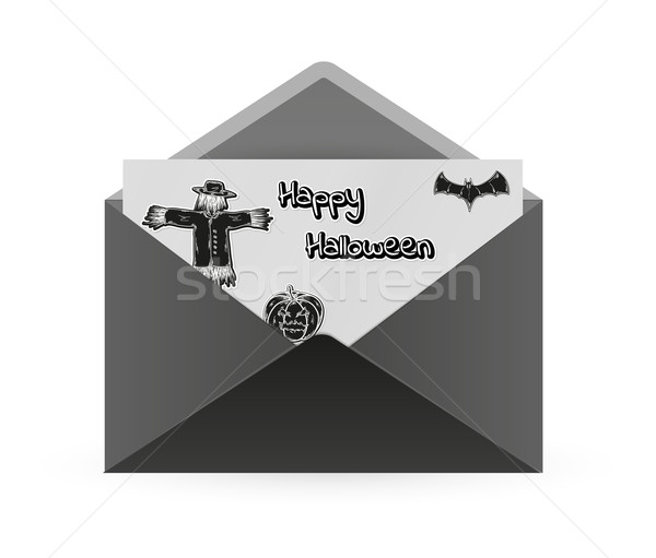Espantalho bat abóbora envelope papel preto Foto stock © muuraa