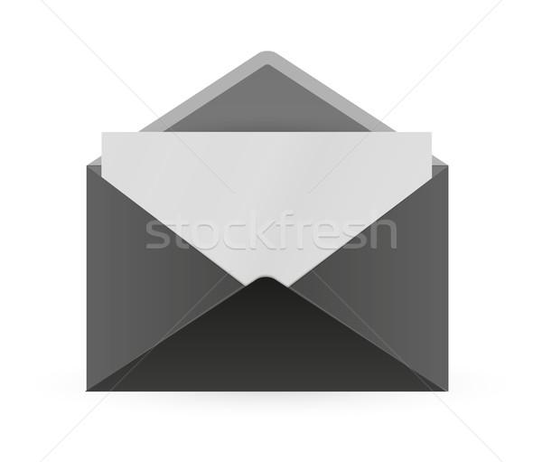 Siyah zarf kâğıt açmak gölge beyaz Stok fotoğraf © muuraa