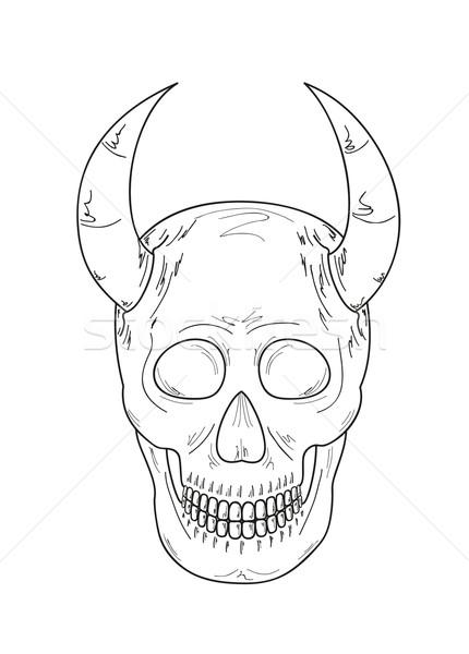 sketch of the skull with horns Stock photo © muuraa
