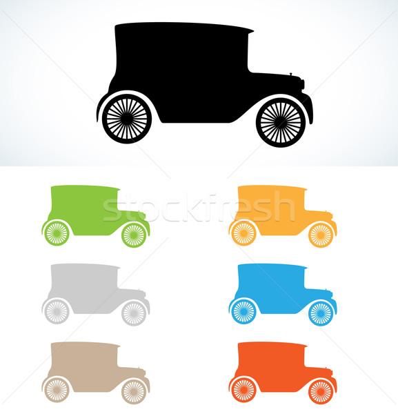 Vecchia macchina silhouette sagome sette colori vettore Foto d'archivio © muuraa
