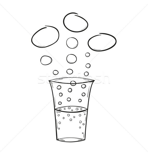 Bere bolle sketch isolato acqua mano Foto d'archivio © muuraa