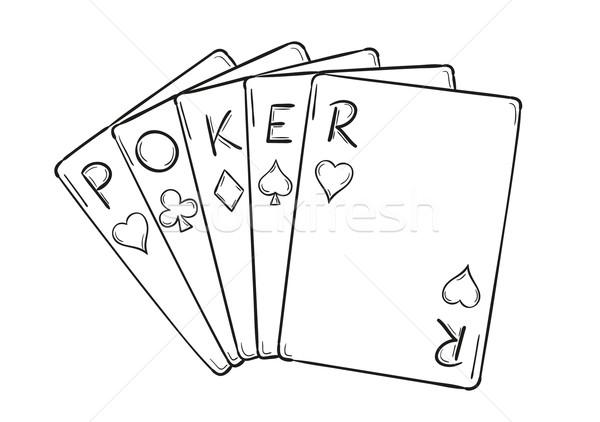 Beş poker kartları kroki yalıtılmış kalp Stok fotoğraf © muuraa