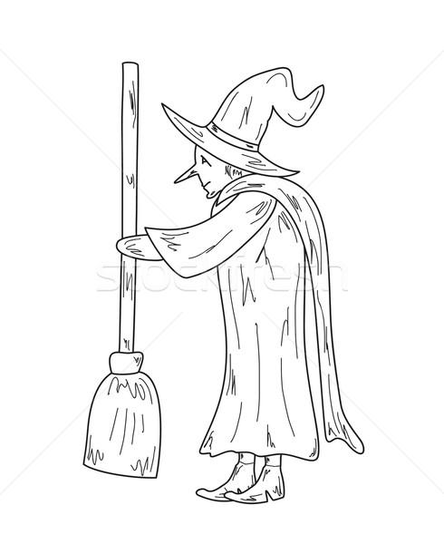 Vieux sorcière croquis laide balai vecteur Photo stock © muuraa