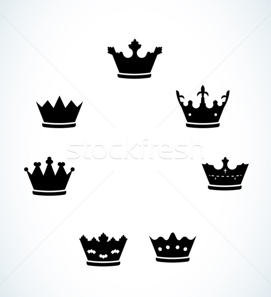 Conjunto sete silhueta projeto assinar coroa Foto stock © muuraa