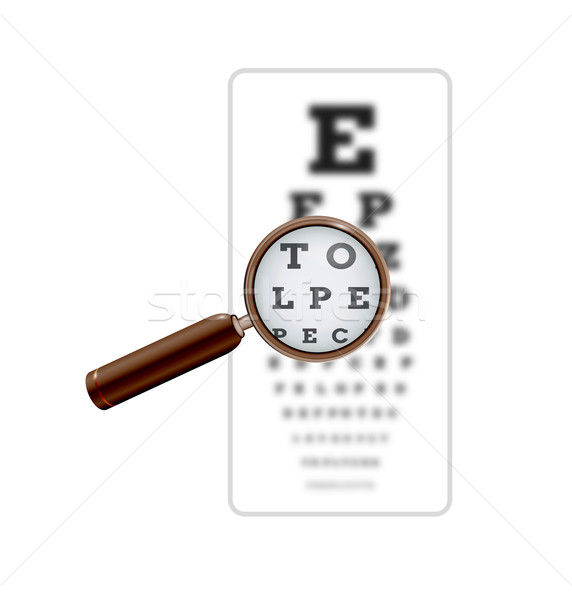 sharp and unsharp snellen chart with magnifying glass Stock photo © muuraa