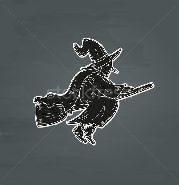 Velho bruxa esboço feio vassoura vetor Foto stock © muuraa