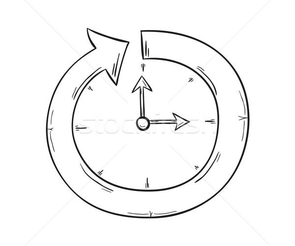 Seta relógio esboço símbolo progresso isolado Foto stock © muuraa