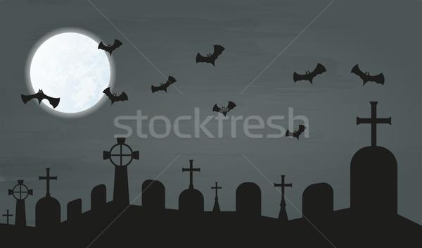 кладбище ночь луна вектора небе фон Сток-фото © muuraa