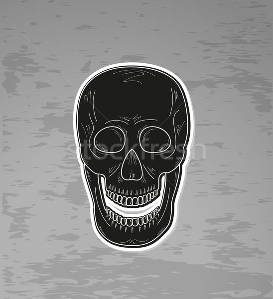 черный череп открытых рот темно Гранж Сток-фото © muuraa