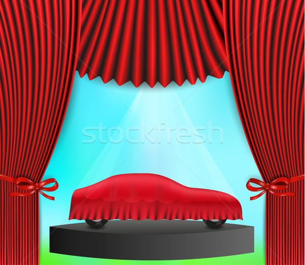隠された 車 赤 カーテン ベクトル 布 ストックフォト © muuraa