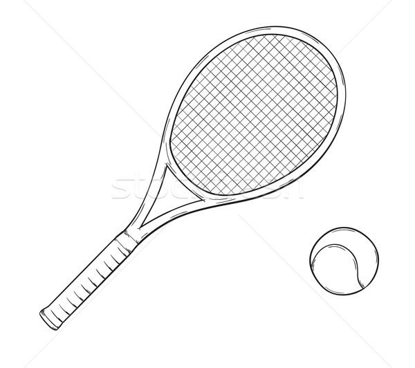 Tennisracket schets bal geïsoleerd sport pen Stockfoto © muuraa