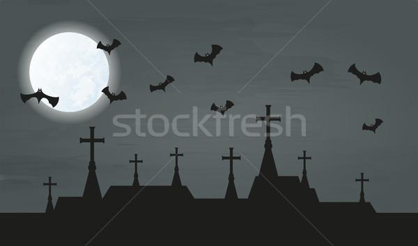 Bat şehir kiliseler gece ay vektör Stok fotoğraf © muuraa