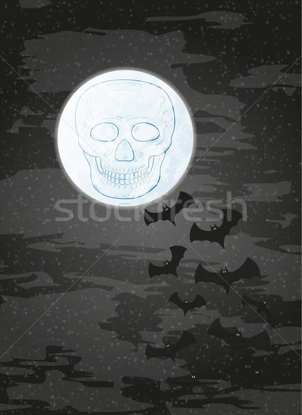 ночь луна череп темно небе вектора Сток-фото © muuraa