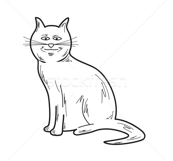 Sorridente gato esboço branco vetor olhos Foto stock © muuraa