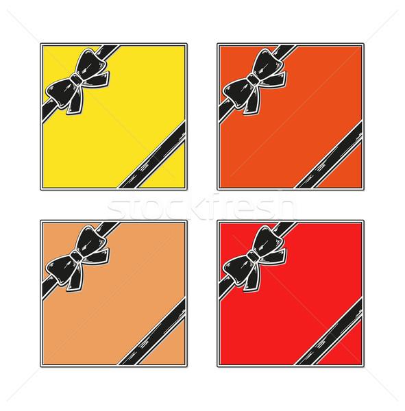 Hediye kırmızı sarı turuncu şerit Stok fotoğraf © muuraa