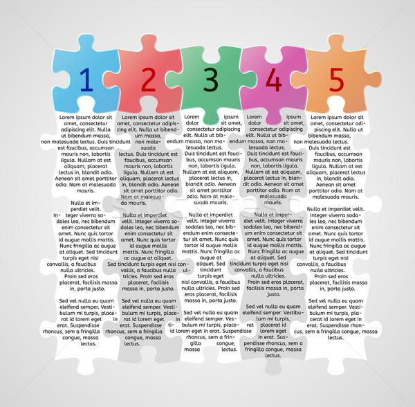 Инфографика пять шаги головоломки серый дизайна Сток-фото © muuraa