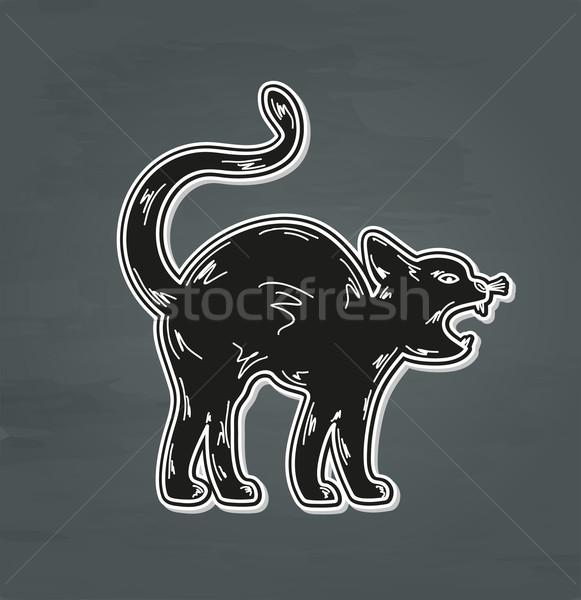 Siyah öfkeli kedi beyaz vektör gözler Stok fotoğraf © muuraa