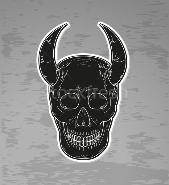 Siyah kafatası karanlık grunge vektör Stok fotoğraf © muuraa