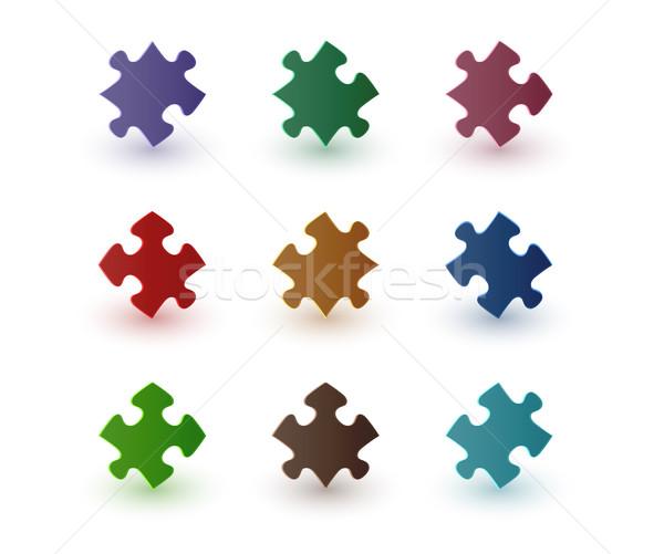 Renk puzzle parçaları gölge beyaz arka plan mavi Stok fotoğraf © muuraa