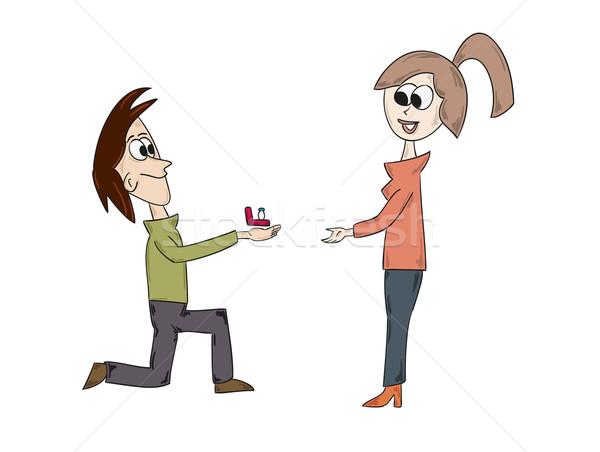 Evlilik öneri vektör karikatür adam kadın Stok fotoğraf © muuraa