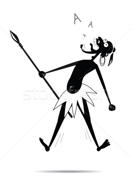 Aborigine with a spear and a earring is shouting Stock photo © my-photomir