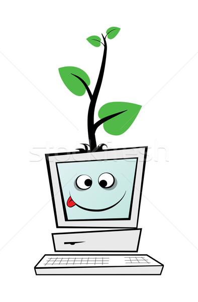 компьютер старые изолированный белый дерево Сток-фото © my-photomir