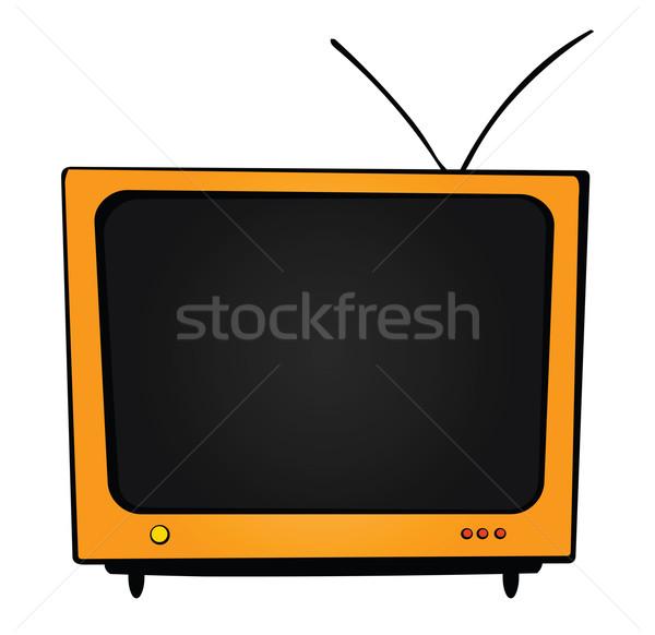 оранжевый телевизор большой антенна Кнопки окна Сток-фото © my-photomir