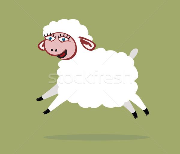 овец белый улыбаясь большие глаза Cartoon ПЭТ Сток-фото © my-photomir