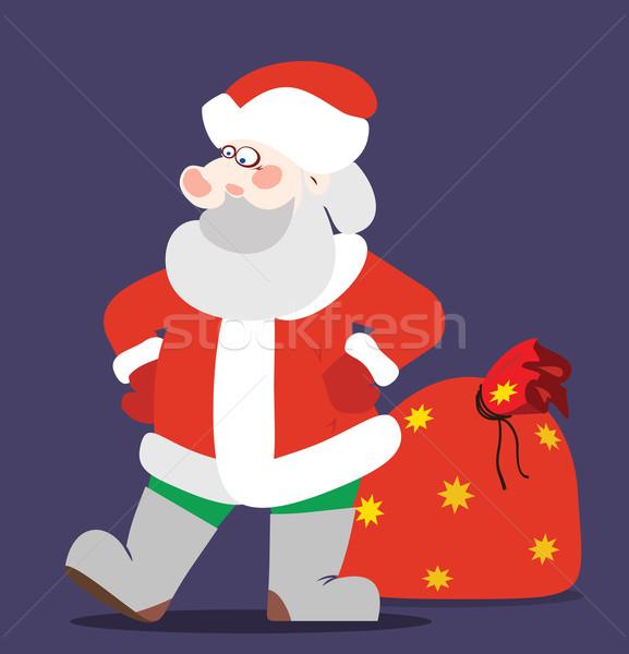 Дед Мороз большой мешок Рождества подарки счастливым Сток-фото © my-photomir