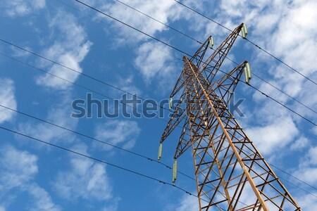 электрических линия интересный угол мнение Blue Sky Сток-фото © my-photomir