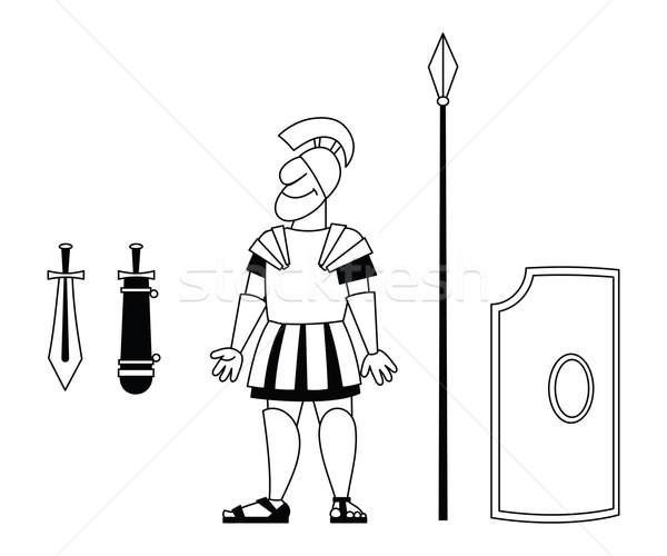古 战士 盔甲 矛剑盾 商业照片 my-photomir