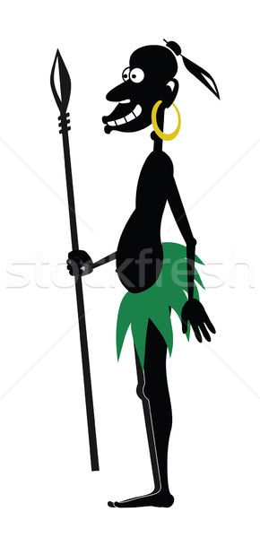 Aboriginal with a spear and a gold earring Stock photo © my-photomir
