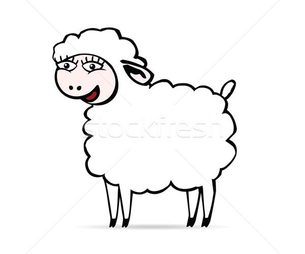 улыбаясь овец белый большие глаза фермы Cartoon Сток-фото © my-photomir